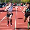 Angel Agwazie wint de 100 M cadetten & scholieren voor Céline Delheye - Memorial Guy Dorchain - Wembley Sportcomplex - Kortrijk