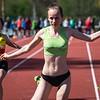 Winst op de 100 M voor Céline Roelens bij de dames scholieren - Memorial Guy Dorchain - Wembley Sportcomplex - Kortrijk