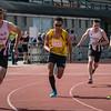 Start van de 800 M Scholieren met vlnr Falco Defour, Yehudi Tingo-Farine (USL Montjoly, Frans Guyana), Gilles Dejonghe & Florian Taelman (AZW) - Memorial Leon Denys - Atletiekpiste Izegem - West-Vlaanderen