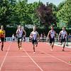 100 M met vlnr Didier Laureys (AVMO), Dylan Monserez (KKS), Ken Neyt (FLAC Ieper), Massimo Renson (FLAC Oostkamp), Daniel Helsens (STAX),  Rinus Staessen (FLAC Izegem) & Michael Werbrouck (FLAC) - Memorial Leon Denys - Atletiekpiste Izegem - West-Vlaanderen