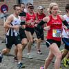 Groepje achtervolgers met o.a. Kristof Denuwelaere van FLAC Hoppeland & vader en dochter Deruddere van Dapalo - Milcobel Run 2014 - Langemark - West-Vlaanderen