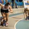 Start van de 400 M dames met Flavie Vanbesien uit Poperinge - Open Belgisch Studenten Kampioenschap - BLOSO Topsporthal - Gent