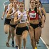 Doortocht van de 400 M dames met Flavie Vanbesien uit Poperinge op kop - Open Belgisch Studenten Kampioenschap - BLOSO Topsporthal - Gent