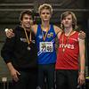 Podium 800 M Heren met vlnr Quentin Kébron, Viktor Benschop & Yngwie Vanhoucke
