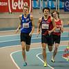 De strijd om de eerste plaats tussen Viktor Benschop & Quentin Kébron - 800 M - Open Belgisch Studenten Kampioenschap - BLOSO Topsporthal - Gent