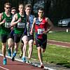 Bijna halfweg de 800 M met vlnr Arthur Bruyneel (AC Meetjesland), Thomas Dejean (CABW), Christof Pieters (AC Meetjesland), Yngwie Vanhoucke (FLAC Ieper) & Thomas Florizoone (RFCL) - Open Meeting - VITA Ninove - Oost-Vlaanderen