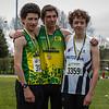 Podium 800 M Scholieren met vlnr Yente Michiels, Kevin Vandewoude en Lennard Derudder van FLAC Ieper - Provinciaal Kampioenschap - Sportpark De Lenspolder - Nieuwpoort