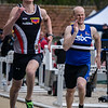 Emile Verdonck (AZW) & Jeroen Vandewalle (AVR) - Reeks I 100 M - Sportpark De Lenspolder - Nieuwpoort  Zaterdag 25 april '15