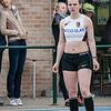 Céline Delheye van FLAC Izegem op de 400 M Horden voor meisjes scholieren - Provinciaal Kampioenschap - Sportpark De Lenspolder - Nieuwpoort