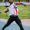 Bethlehem Tielsen van Olympic Brugge in het speerwerpen bij de Scholieren - Provinciaal Kampioenschap 2015 - Sportpark De Lenspolder - Nieuwpoort