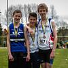 Podium van de 800 M bij de cadetten: vlnr Thibo Dewulf, Arthur Daenens & Martijn Bonte - Provinciaal Kampioenschap - Sportpark De Lenspolder - Nieuwpoort