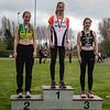 Podium 300 M Horden bij de meisjes cadetten met vlnr Lisa Geudens, Amber Nuytten & Axelle Damman - Provinciaal Kampioenschap Atletiek - Sportpark De Lenspolder - Nieuwpoort