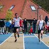 Bert Goethals (KKS), Maarten Van Hauter (OB), Massimo Renson (FLAC) & Lucas Boone (Houtland) - Finale 100 M Juniors - Sportpark De Lenspolder - Nieuwpoort  Zaterdag 25 april '15