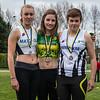 Podium 400 M Horden dames juniors met vlnr Charlie Verstraete, Hege Michiels & Jolien Steenhuyse - Provinciaal Kampioenschap Atletiek - Sportpark De Lenspolder - Nieuwpoort