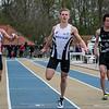 Maarten Van Hauter (OB), provinciaal kampioen Massimo Renson (FLAC) & Lucas Boone (Houtland) - Finale 100 M Juniors - Sportpark De Lenspolder - Nieuwpoort  Zaterdag 25 april '15