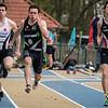 Maxim Sanctorum (FLAC), Domien Decloedt (Houtland) & Emile Verdonck (AZW) - Reeks I 100 M - Sportpark De Lenspolder - Nieuwpoort  Zaterdag 25 april '15