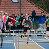 Amber Nuytten (FLAC), Axelle Damman (Houtland) & Lisa Geudens (MACW) op de 300 M Horden voor meisjes cadetten - Provinciaal Kampioenschap - Sportpark De Lenspolder - Nieuwpoort