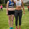 Podium 400 M Horden dames seniores met Jolien Musseuw (AVR) & Flavie Vanbesien (FLAC Hoppeland) - Provinciaal Kampioenschap Atletiek - Sportpark De Lenspolder - Nieuwpoort