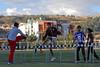 Plaatselijke atleten tijdens hun opwarming - Parque Zonal - Wanchaq - Cusco - Peru