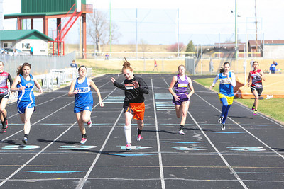 Bayard's Breanna Korell crosses the finish line in the girls 200 on Thursday at the Tri-State Track Meet in Chappell. Korell wins the event.