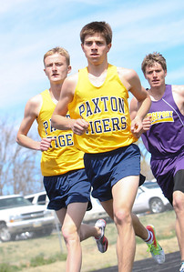 Paxton's Koby Archuletta leads the pack in the boys 3200 meter run on Thursday at the Tri-State Track Meet in Chappell. Garrett Perlinger (left) and Cody Franklin 9back). Franklin of Bridgeport wins the race.