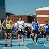 Start 800 M met vlnr: Aaron Botterman, Gieljan Baete, Yngwie Vanhoucke, Maarten Verbiest, Brian Van Den Bossche & Viktor Benschop