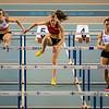 Chloë Beaucarne van AC Deinze, Dorien Van Diest van OEH & Eline Berings van RC Gent op de 60 M Horden - Kampioenschap van Vlaanderen  - Topsporthal Vlaanderen - Gent