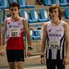 Tomas Sisk & Yngwie Vanhoucke aan de start van de 800 M - Kampioenschap van Vlaanderen - BLOSO Topsporthal - Blaarmeersen - Gent
