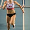 Aankomst van Chloë Beaucarne  op de 60 M Horden - Kampioenschap van Vlaanderen  - Topsporthal Vlaanderen - Gent