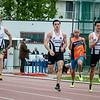 Reeksen 100 M seniores & masters met vlnr Ken Neyt, Mathias Sanctorum, Didier Laureys & Maxim Sanctorum