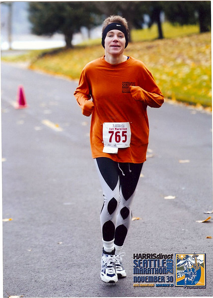 "2003 Seattle Marathon - my first!  (...and check out the fancy clothes - a homeless man said he liked my ""superhero tights."" :)"
