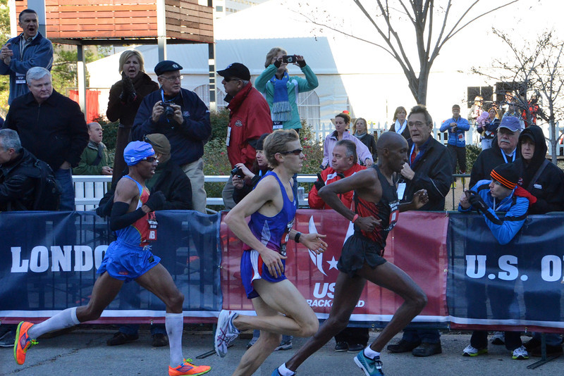 Meb Keflezighi, Ryan Hall, and Abdi Abdirahman at the Olympic Trials Marathon, Houston, January 14th, 2012