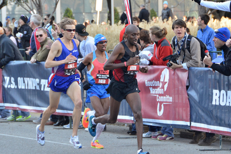 Ryan Hall, Meb Keflezighi, and Abdi Abdirahman at the Olympic Trials Marathon, Houston, January 14th, 2012