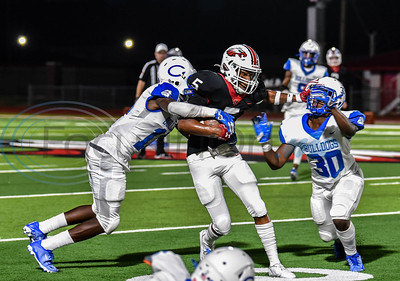 The Rusk Eagles hosted the Crockett Bulldogs on Friday where Rusk senior Joseph McGowan (5) ran back a kick-off return for a touchdown in the first half. Both teams went into the game 1-0.