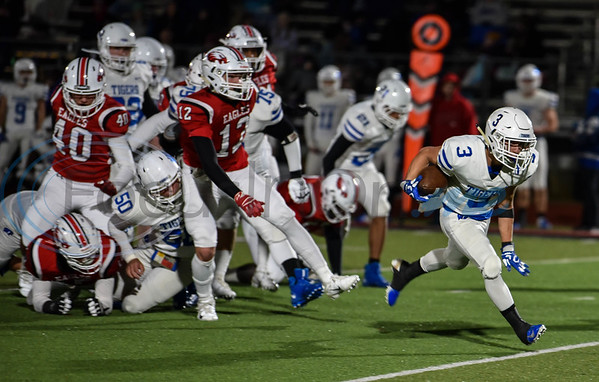 Justin Perez (3) of Wills Point breaks a tackle and rushes for a touchdown in a game against Rusk on Friday. The Tigers traveled to Rusk for their final game of the regular season. (Jessica T. Payne/Tyler Morning Telegraph)