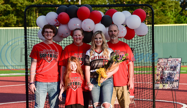 Rusk senior softball player Kailee Milsap (#17) was recognized during a surprise Senior Softball Night event on Wednesday, May 13. Players were allowed to take the field with their families one last time to be honored with flowers and gifts.