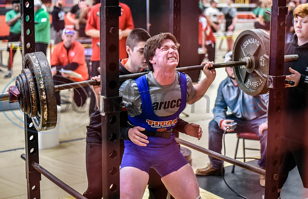 Zack Clark of Shelbyville grinds through a squat at the annual Rusk Invitational at Rusk Coliseum. The January 25th event brought together more than 10 schools and approximately 200 student athletes. (Jessica T. Payne/Tyler Morning Telegraph)