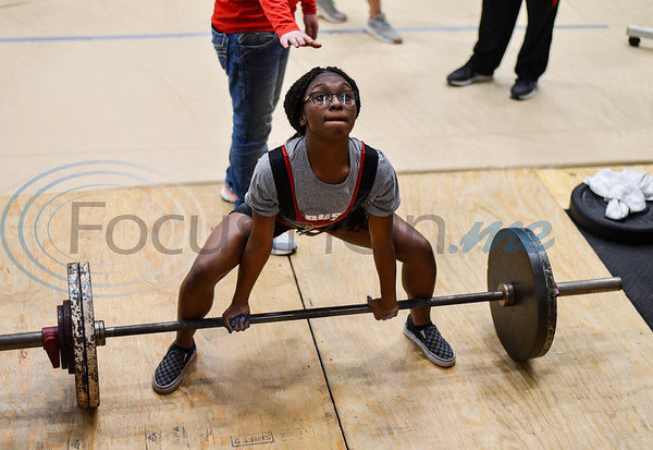 Zoe Fields of Rusk, who took first in the 114 class, pulls 255 pounds during the deadlift event at the annual Rusk Invitational powerlifting meet on Saturday, January 25. (Jessica T. Payne/Tyler Morning Telegraph)