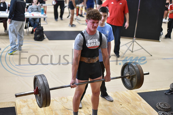 Rusk senior Sean Rogers, who took first in the 198 class, muscles through a 445 lb deadlift at the annual Rusk Invitational on Saturday, January 25 held at the school's Coliseum. (Jessica T. Payne/Tyler Morning Telegraph)