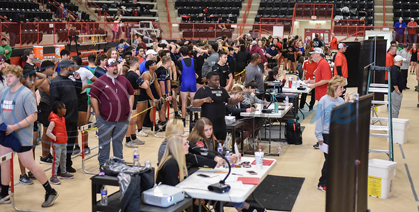 Hundreds of student athletes representing more than 10 schools gathered at the Rusk Coliseum for the annual Rusk Invitational powerlifting meet held on Saturday, January 25. (Jessica T. Payne/Tyler Morning Telegraph)