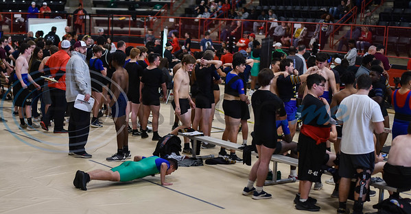 Student athletes warm up at the Rusk Invitational powerlifting meet on Saturday, January. 25. More than 10 school gathered at the Rusk Coliseum to compete in squats, deadlifts and bench press. (Jessica T. Payne/Tyler Morning Telegraph)