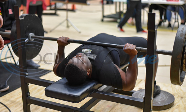 Cedric Hicks of Palestine, who took second in the 242 class with a total weight of 1340, pushes through a 330 lb bench press while competing at the Rusk Invitational powerlifting meet on Saturday, January 25. (Jessica T. Payne/Tyler Morning Telegraph)