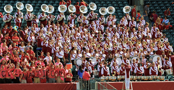 The Temple band in the bleachers