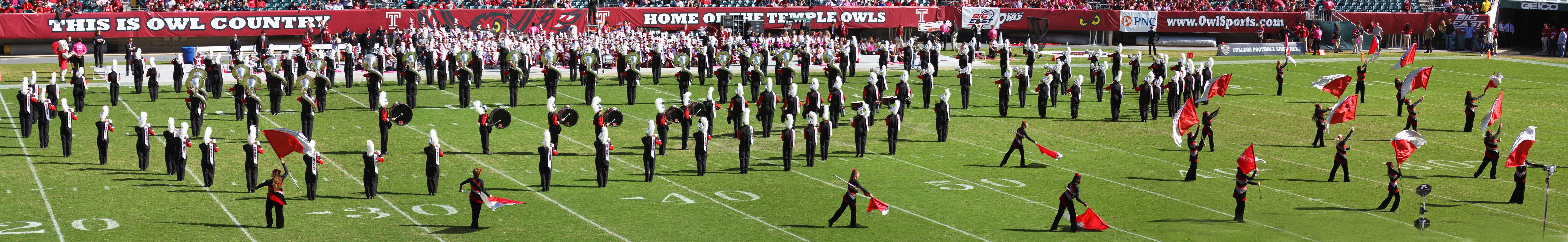 Panorama of the Rutgers' marching band
