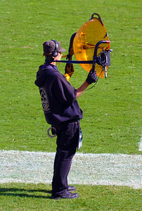 Parabolic-microphone technician on the sideline