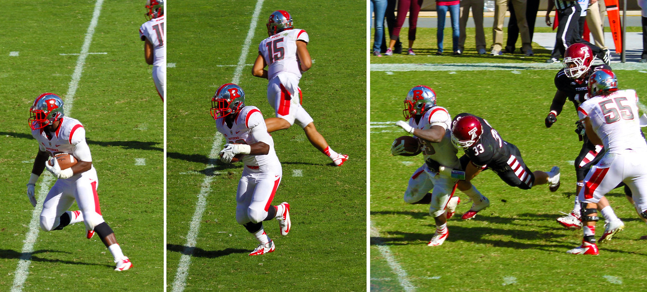 Sequence of Jamison running until Copanegro tackles him