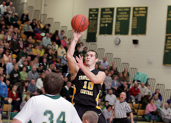 Record-Eagle/Keith King<br /> Traverse City Central's Ryan Verschuren shoots the ball against Traverse City West Thursday, January 20, 2011 at Traverse City West High School.