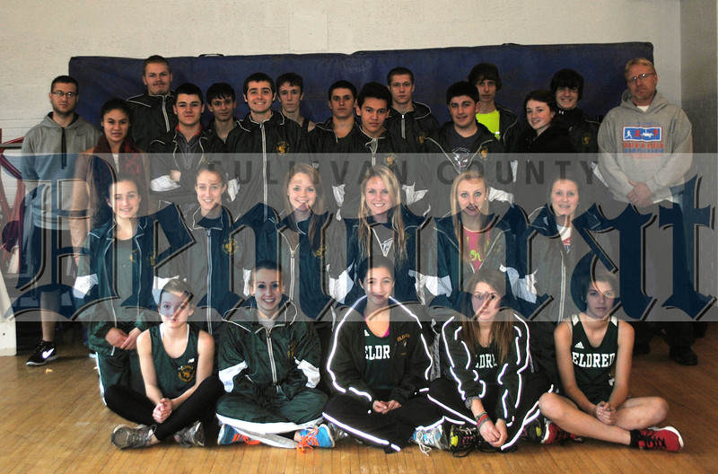 Members of the 2012-2013 Eldred indoor track team standing from left, Coach Matt Campanella, Angela Schadt, Scott Van Tuyl, William Yake, Jared DeLeon, Jacob Willoby, Douglas Leek, Julian Gottlie, Julian DeLeon, Alex Campanella, Joseph Carcone, Matt Leskanic, Lauren Frey, Kevin Maas, and Coach Don Drewett.<br /> Middle row from left, Sarah Malzahn, Erika Poston, Melissa McMonagle, Savannah Finck, SaraJane Drewett, Jessica Davis.<br /> Front row from left, Kayla Maas, Selena Hudak, Isabelle Pizzo, Charley Bertolino, Catherine Nicholson.<br /> Missing from picture are coaches Frank Schorling and William Kroohs.