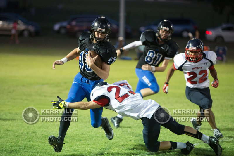 #45 breaks a tackle.