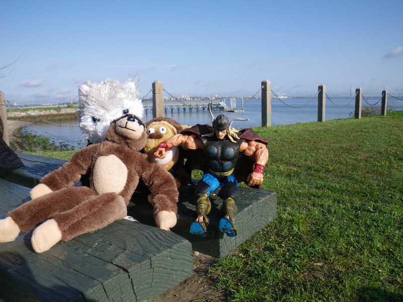 The Cincypaddlers mascots are ready to rock with Charleston (SC) in the background.